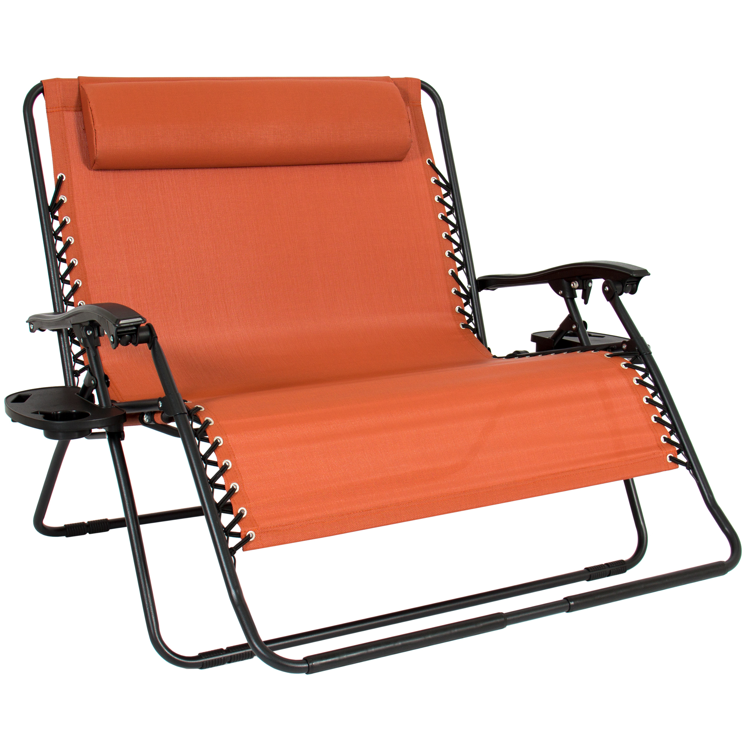 Best Choice Products 2-Person Double Wide Folding Zero Gravity Chair Patio Lounger w/ Cup Holders - Terracotta Orange
