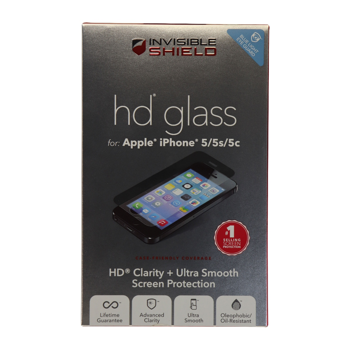 Invisible Shield HD Glass Screen Protector for iPhone 5S, 5C, 5 - Clear