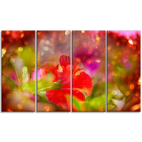 Design Art 'Beautiful Red Rural Summer Flowers' 4 Piece Graphic Art on Wrapped Canvas Set