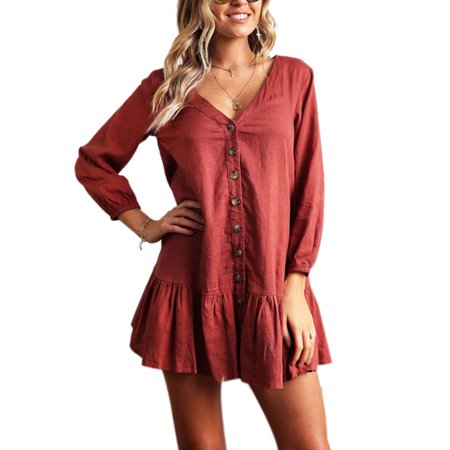Women Long Sleeve Button Down Dress Loose Tops Casual V Neck Pleated Tunic Shirt Autumn Button Through T-Shirt Dresses