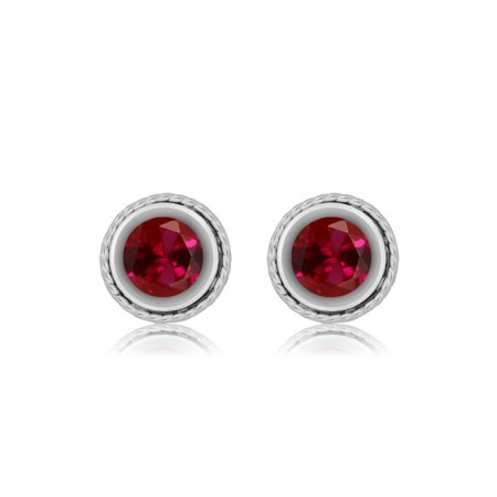 2.00 Ct Round 6mm Red Created Ruby 925 Sterling Silver Stud Earrings - image 1 of 2