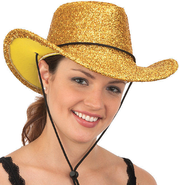 Gold Glitter Western Cowboy Cowgirl Metallic Hat Costume Accessory Adult