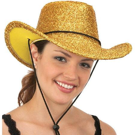 Gold Glitter Western Cowboy Cowgirl Metallic Hat Costume Accessory Adult (Gold Glitter Top Hat)