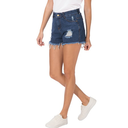SAYFUT Women's Summer Jean Shorts Destroyed Ripped Frayed Hem Hight Waist Casual Denim Short Plus Size