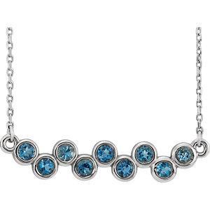 "Sterling Silver Aquamarine Bezel Set Bar 16-18"" Necklace by"