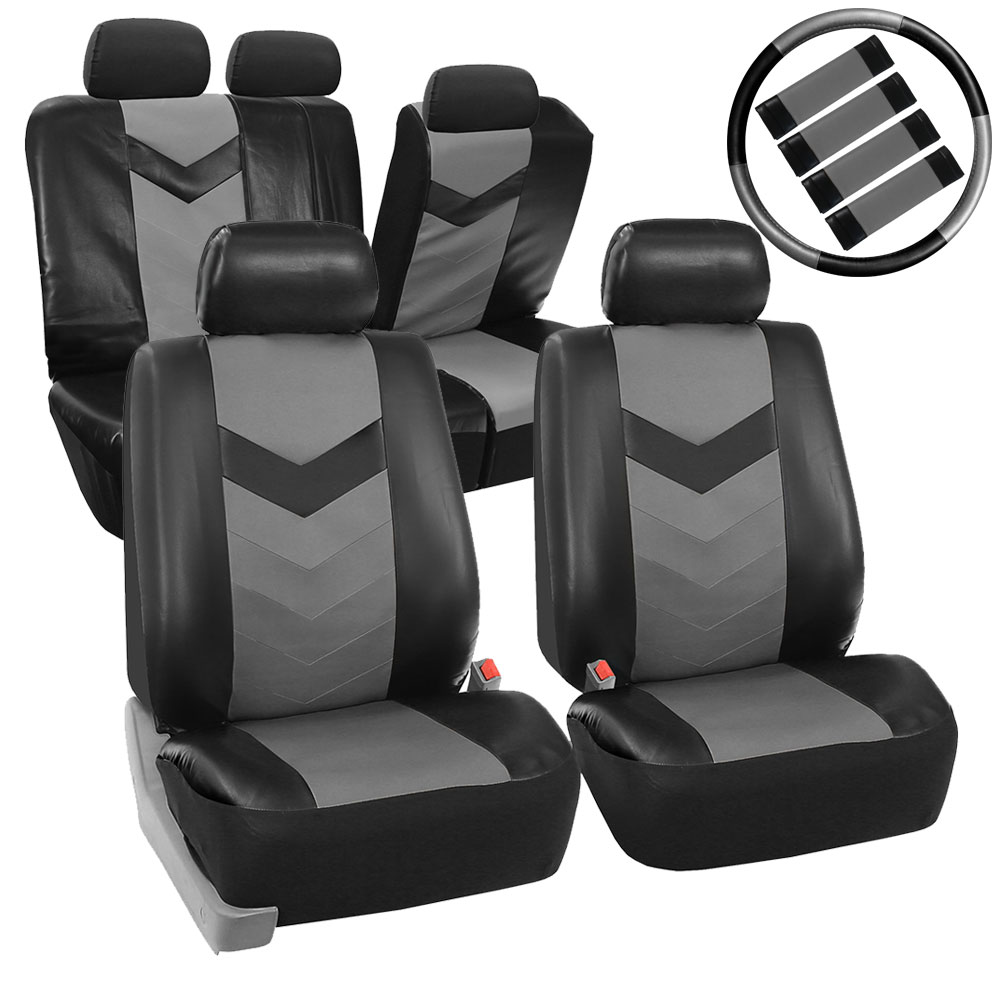 FH Group Synthetic Leather Auto Accessory Full Set with Steering Wheel Cover and Seatbelt Pads, Side Airbag Compatible with Split Bench Function, Gary and Black