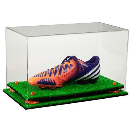 Deluxe Clear Acrylic Large Shoe Display Case for Basketball Shoes Soccer Cleats Football Cleats with Orange Risers and Turf Base (A013-OR)