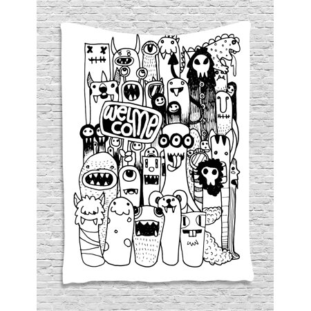 Indie Tapestry Hand Drawn Doodle Style Cartoon Figures Monsters Welcoming Community Funny Crazy Wall