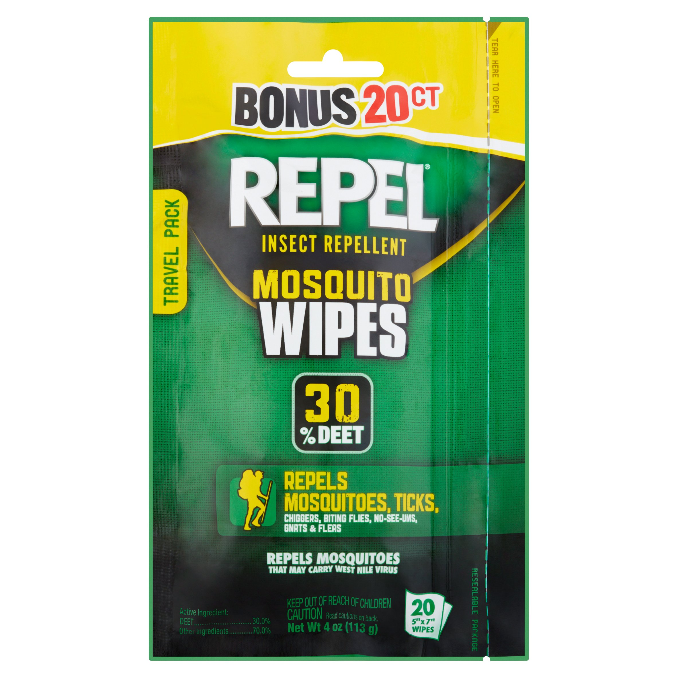 Repel Insect Repellent Mosquito Wipes 30% Deet, 20-Count, 4 oz by Spectrum Brands