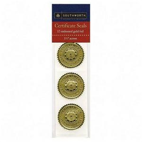 Southworth Company Certificate Seals ''Achievement'' Embossed Foil, 12/Pack (Set of 2)