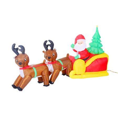 Aosom Inflatable LED Lit Christmas Santa and Reindeer Lawn Yard Decoration for $<!---->