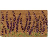 Juvale Natural Coir Door Mat - All Season Indoor Outdoor Welcome Doormat, Easy Clean, PVC Anti-Slip Backing Front Entry Mats, Beautiful Lavender Plants Design, Brown, 17.2 x 30 x 0.5 Inches