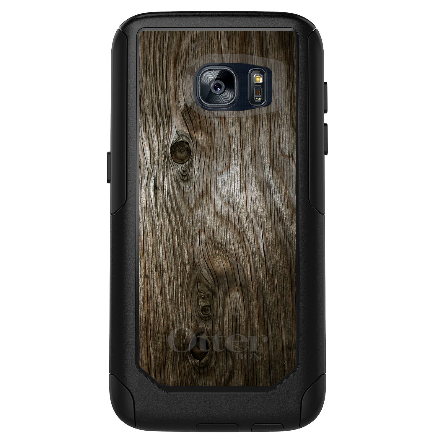 DistinctInk™ Custom Black OtterBox Commuter Series Case for Samsung Galaxy S7 - Brown Weathered Wood Grain Print