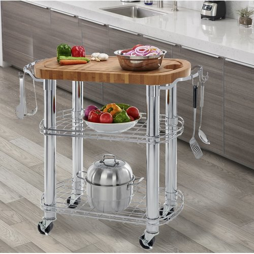 Symple Stuff Kuykendall Rolling Oval Solid Bamboo Kitchen Cart With Butcher  Block Top
