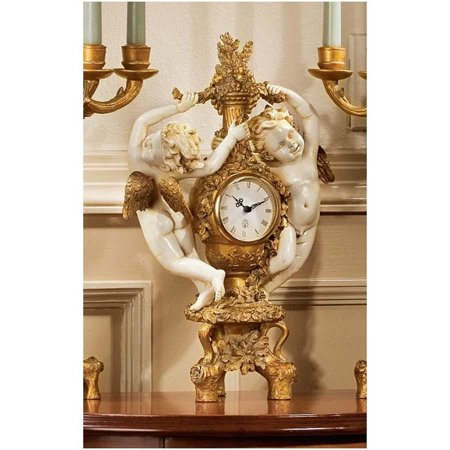 French Baroque Accent Cherubs Baby Angel Sculpture Mantle Clock Column Mantle Clock