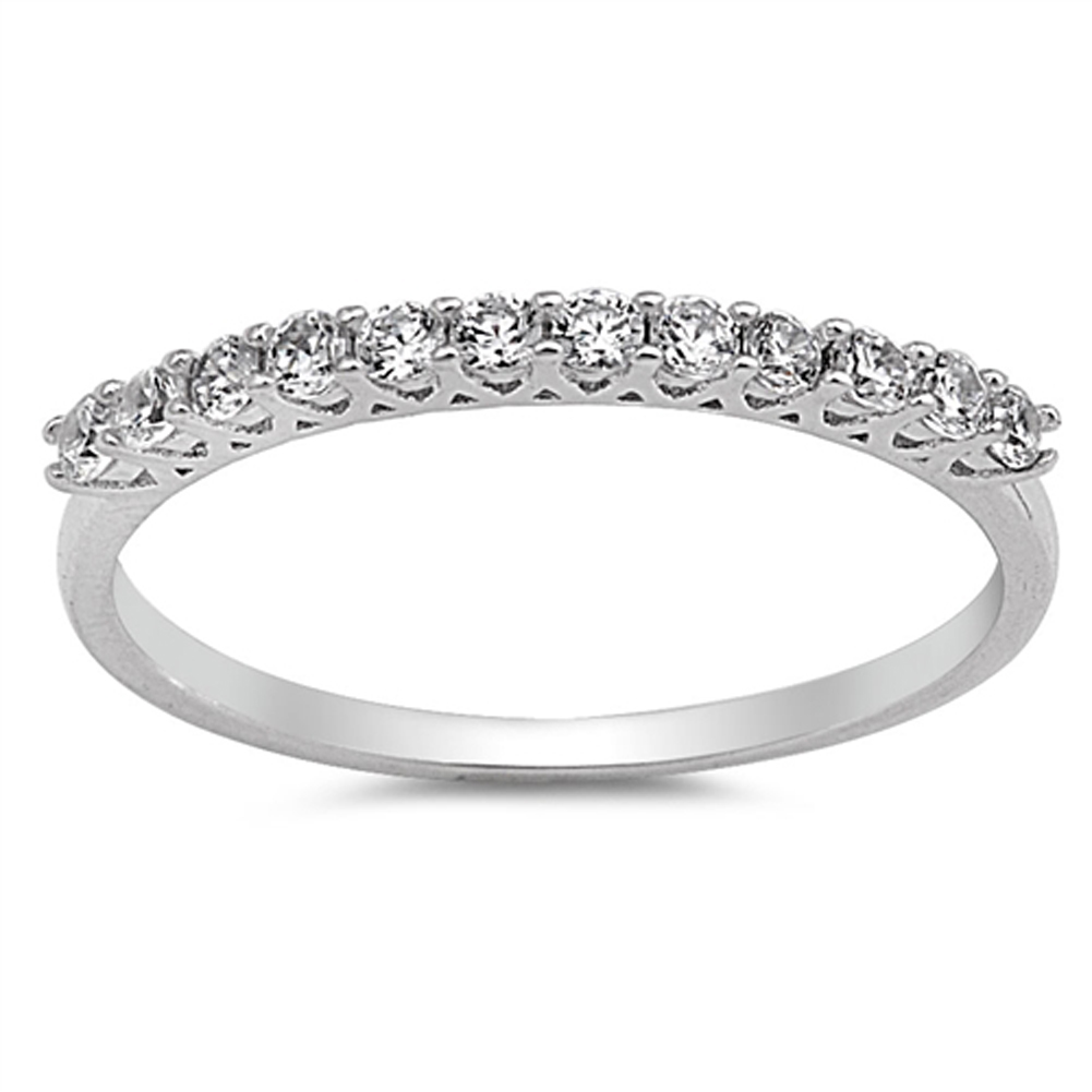 White CZ Beautiful Wedding Ring ( Sizes 5 6 7 8 9 10 ) .925 Sterling Silver Engagement Band Rings by Sac Silver (Size 9)