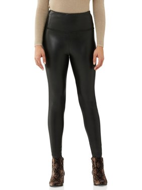 Scoop Women's Vegan Leather Leggings with 4-Way Stretch