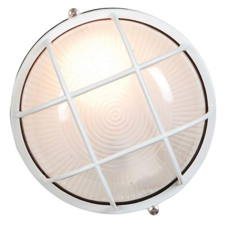 """Access Lighting Nauticus - 7"""" 9W 1 LED Outdoor Bulkhead, White Finish with Frosted Glass"""