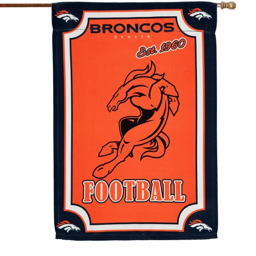 """Denver Broncos 29"""" x 43"""" Glitter Suede Double-Sided House Flag - No Size"""