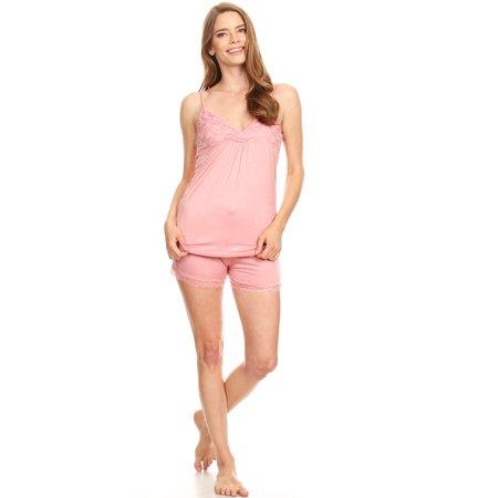 1JVSET05S Womens Shorts Set Sleepwear Pajamas Woman Sleeveless Sleep Nightshirt Pink S Cotton Sleeveless Capri Pajama