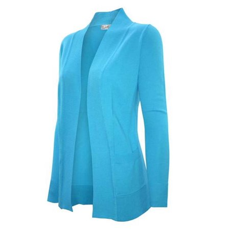 Enimay Women's Low Hip Open Cardigan Aqua Size