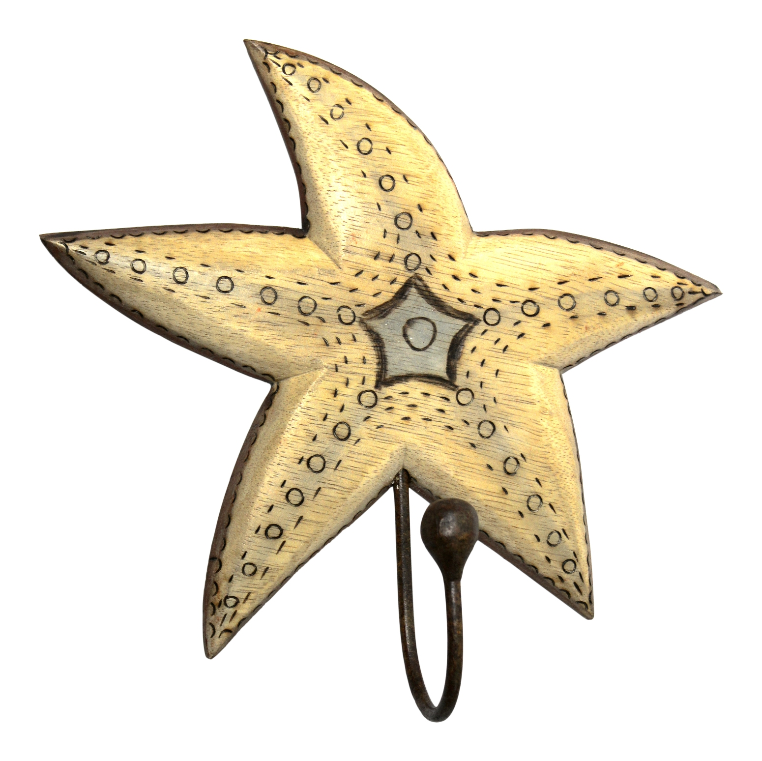 Hand Carved Starfish Single Hook Hanger Wood Burned Design Wall Decor