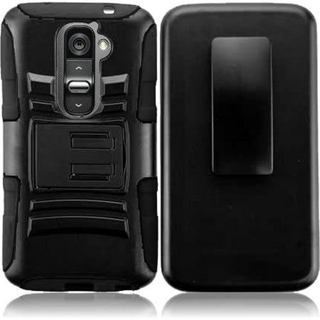 Hybrid Rhino Armor Case with Holster & Swivel Clip + Mini Stylus Pen + Opener for LG G2 LS980 -
