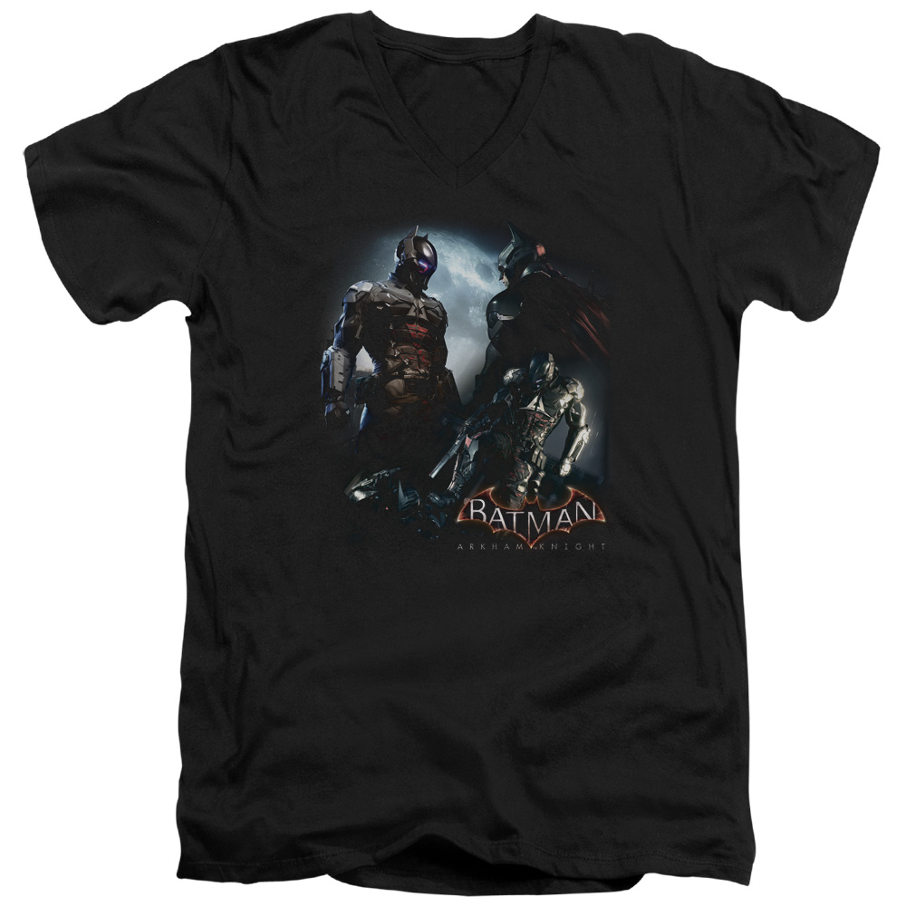 Batman Arkham Knight Face Off Mens V-Neck Shirt by Trevco
