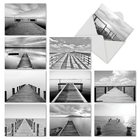 M6453TYG SLIP NOTES' 10 Assorted Thank You Note Cards Featuring Peaceful Black and White Photographic Images of Docks Extending Towards the Sea with Envelopes by The Best Card (Best Extended Warranty Companies)