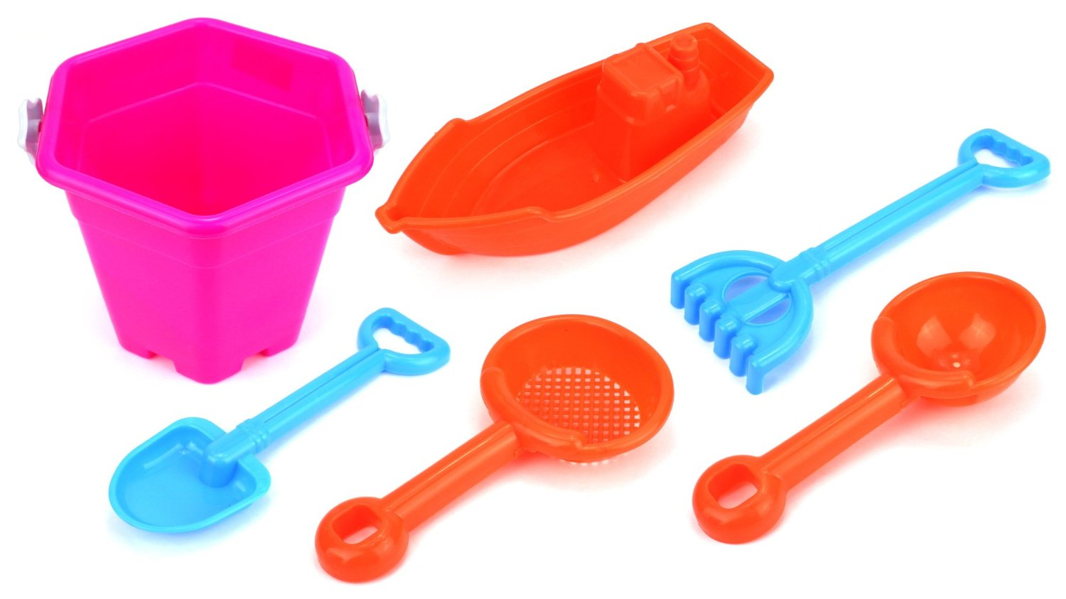 Star Beach Children's Kid's Toy Beach Sandbox Boat Playset w  Bucket, Toy Boat, Hand Tools (Pink) by Velocity Toys