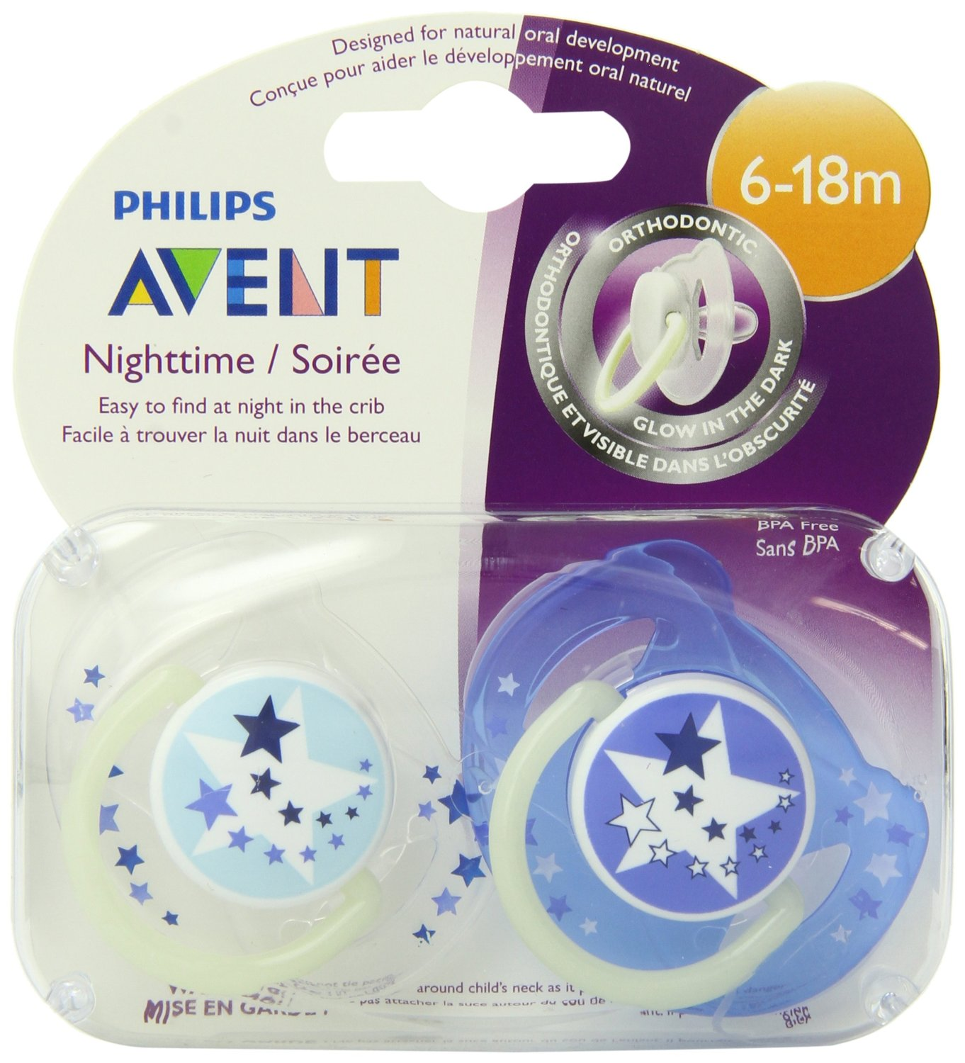 Philips Avent Night Time Toddler 6 to 18 Months Pacifier 2 Pack