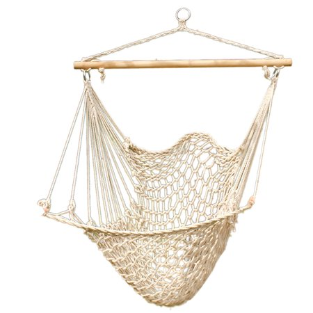 Ktaxon Hammock Cotton Swing Camping Hanging Rope Chair Wooden Beige White Outdoor Patio ()