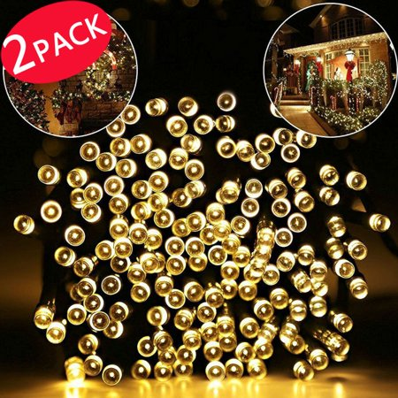 2 PACK Outdoor String Lights, 40ft 100 LED Waterproof Solar Decoration Lighting for Indoor/Outdoor, Patio, Lawn, Garden, and Holiday Festivals (100 LED warm white)