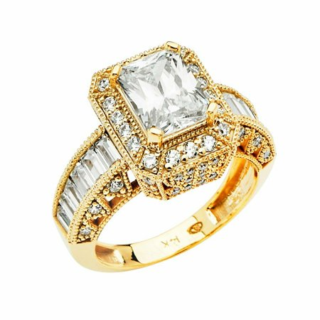 - Solid 14k yellow Gold 4 Prong CZ Cubic Zirconia Radiant Cut Wedding Engagement Ring With Baguette Setting (1.5 ct.)