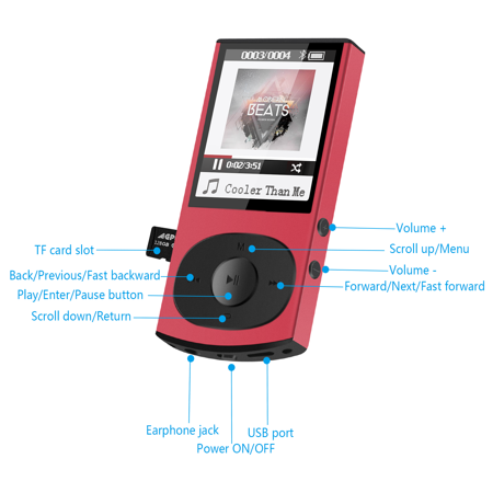 AGPTEK 8GB Bluetooth 4.0 MP3 Player, Metal Casing Lossless misic player Supports Playlist Shuffle FM Radio,C3 Red - image 2 of 7