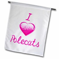 3dRose Pretty Flowery I Love Polecats Polyester 2'3'' x 1'6'' Garden Flag