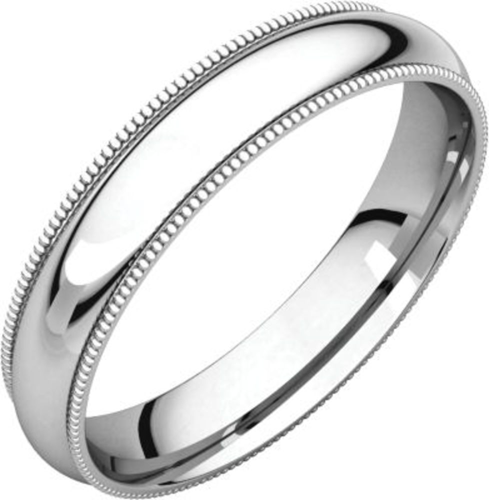 4mm Comfort Fit Milgrain Band in 14k White Gold - Size 7