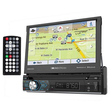 "Soundstream VRN-74HB 7"" Single-DIN In-Dash GPS Navigation DVD Receiver with Flip-Out Display, Bluetooth and MHL Mobilelink X2"