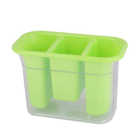 Household Kitchen Plastic 3 Compartments Spoon Chopsticks Case Cage Holder Green - image 4 de 4