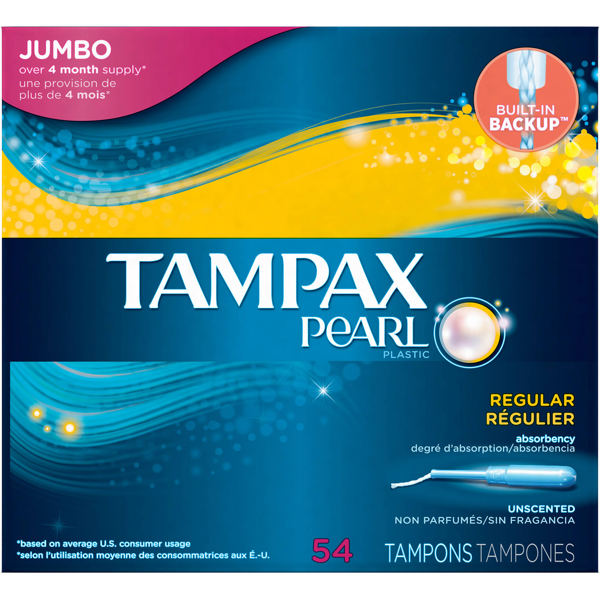 Tampax Pearl Plastic Regular Absorbency Tampons, (Choose your Count)