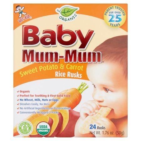 Hot Kid Baby Mum Mum Organic Sweet Potato   Carrot Rice Rusks  24 Count  1 76 Oz