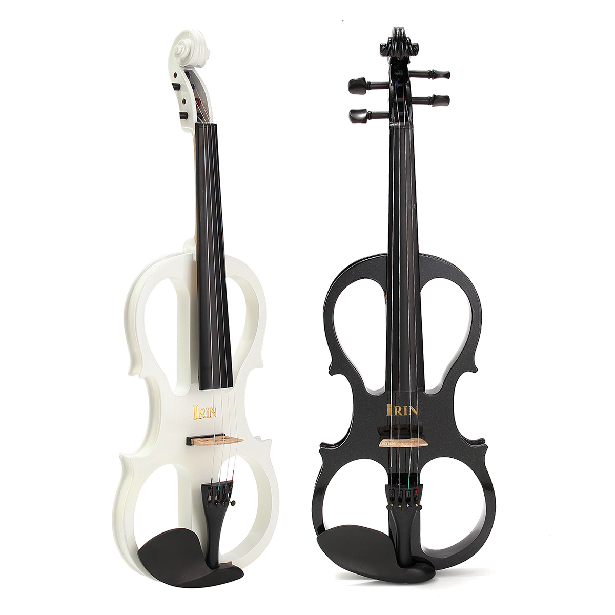 Music 4/4 Full Size Electric Silent Wood Violin Fiddle with Headphones + Case