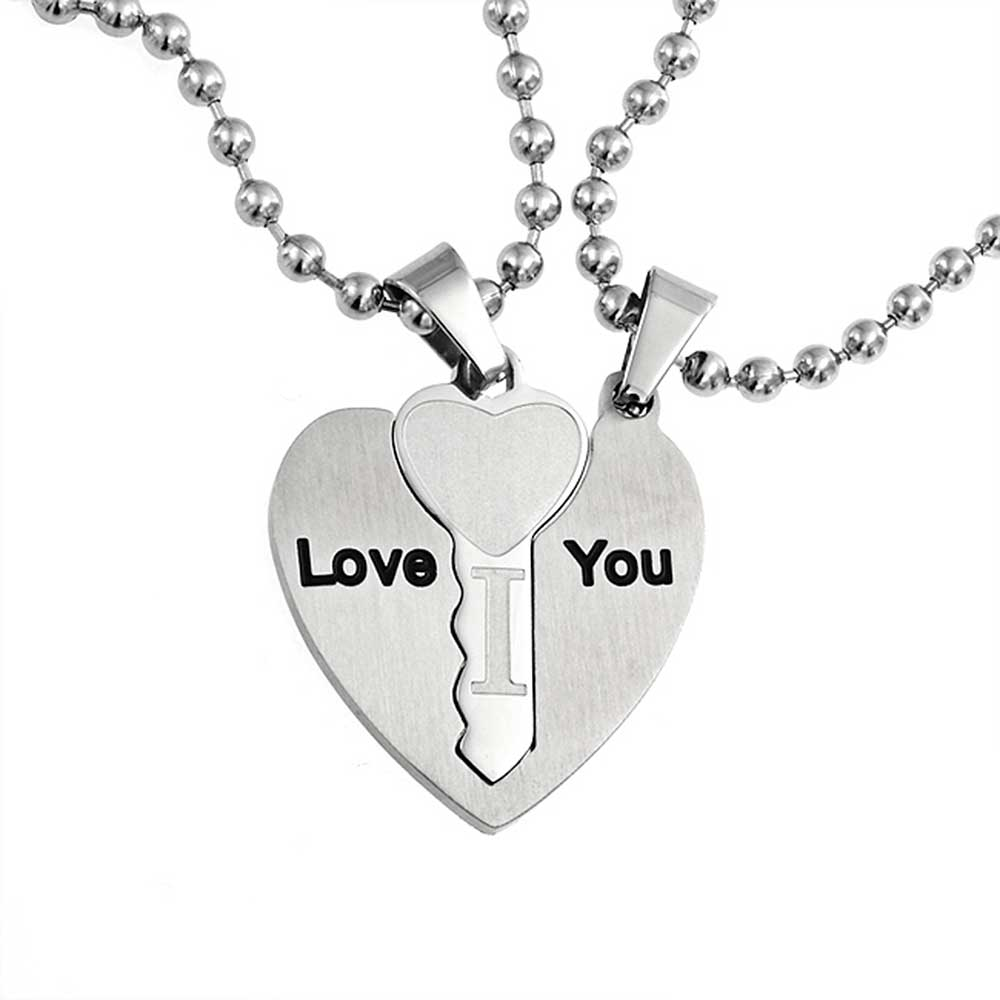 I Love You Couples Heart Shaped Key Pendant Stainless Steel Necklace Set 18 Inches
