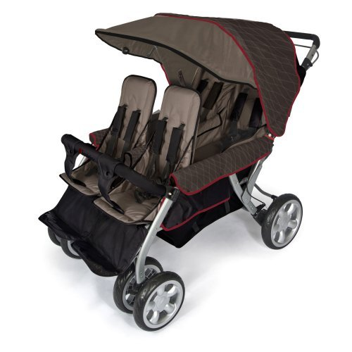 Foundations Quad LX 4-Passenger Folding Stroller with Extra Large Canopy, Taupe/Red