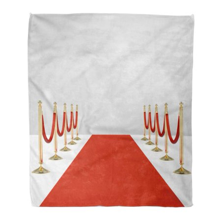 ASHLEIGH Flannel Throw Blanket Red Carpet Ropes on Golden Stanchions Exclusive Event Movie Soft for Bed Sofa and Couch 58x80 Inches (Movie Star Red Carpet)