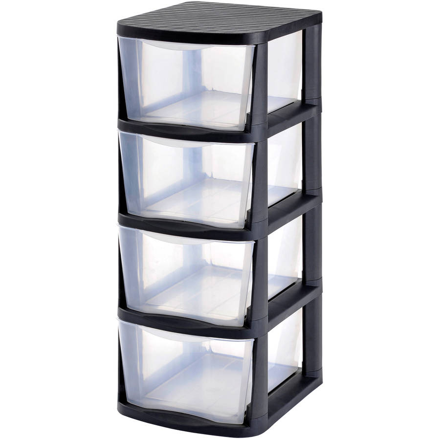 Edsal Muscle Rack PDT4 4-Drawer Tower, Black Frame with Clear-Drawers