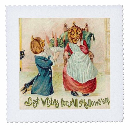 3dRose Vintage Best Wishes for Halloween - Quilt Square, 6 by 6-inch - Halloween Quilt