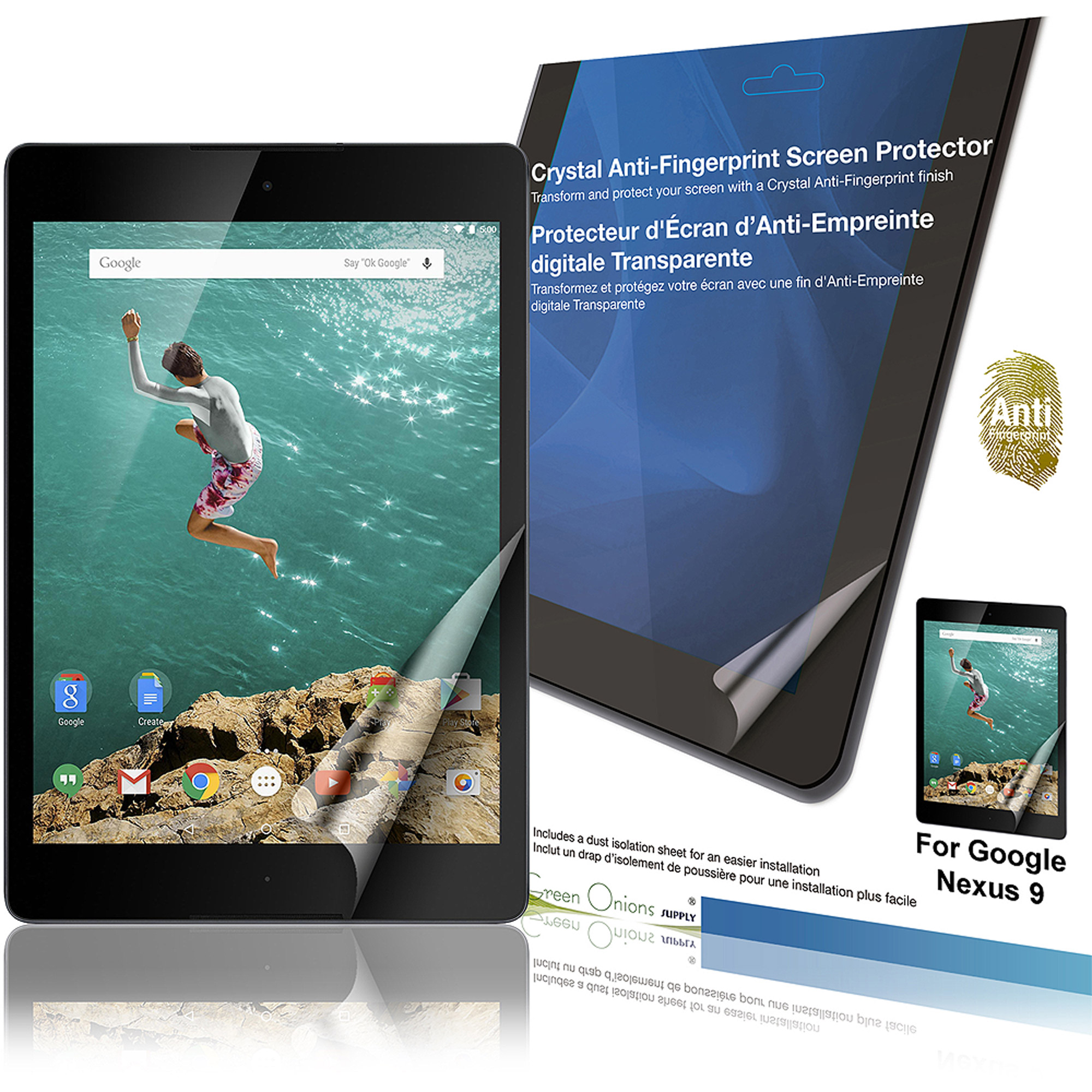 "Green Onions Supply Crystal AF Screen Protector for 8.9"" Google Nexus 9, Glossy"