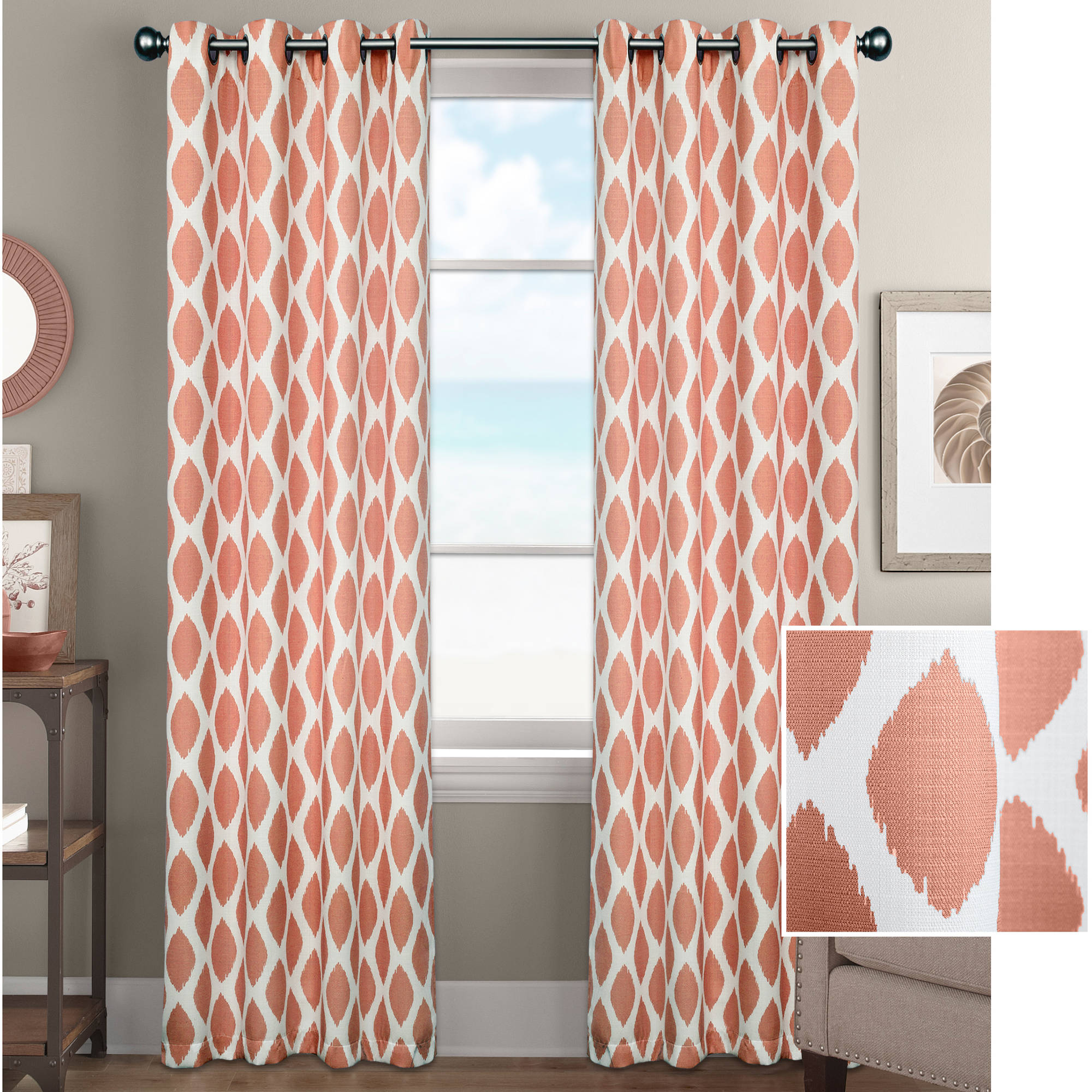 room orange curtains pin target panel aztec diamond guest threshold curtain panels