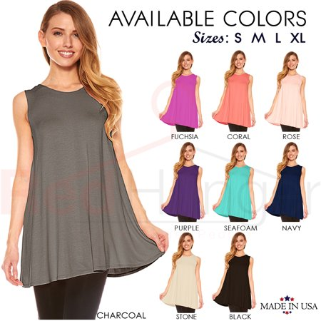 Womens Sleeveless A-Line Tank Top Tunic, Solid Basic Long Flowy Top ()